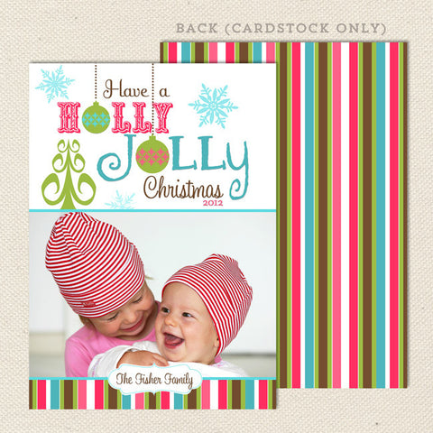 holly jolly holiday printable christmas card pink