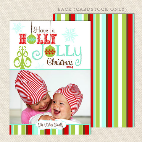 holly jolly holiday printable christmas card red