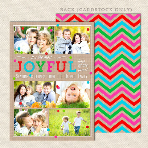 Joyful Collage Printable Christmas Card Multi-Color