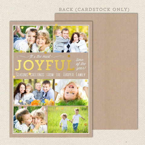 Joyful Collage Printable Christmas Card Gold