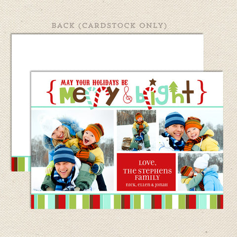 merry & bright christmas photo card red