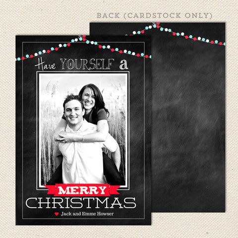 merry lights printable christmas card portrait