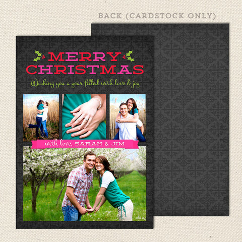 merry memories printable christmas card pink