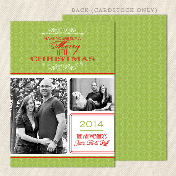 retro printable christmas card green
