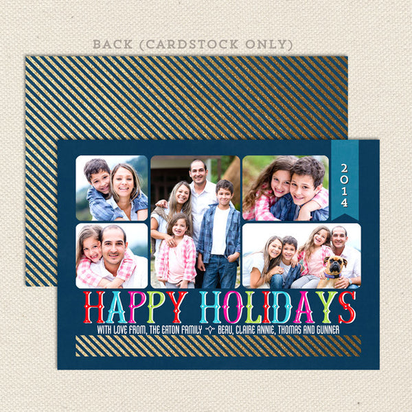 shimmering collage printable christmas card multi color
