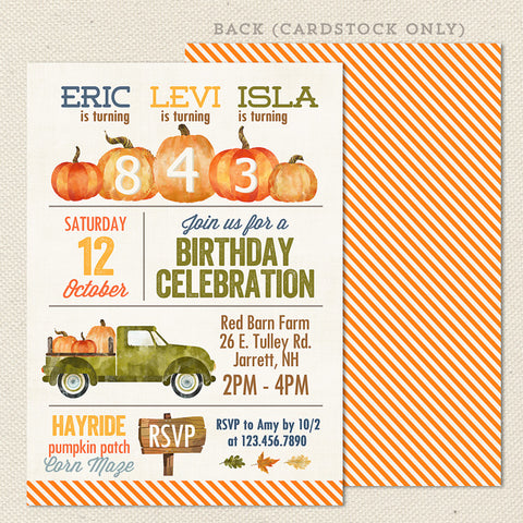 pumpkin farm triple birthday invitation