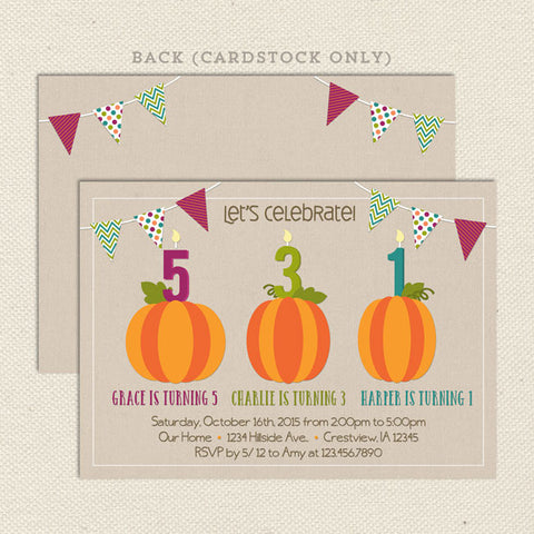 Pumpkin Patch Triple Birthday Invitation