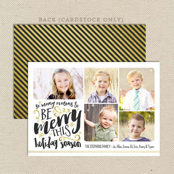 reasons to be merry christmas card white