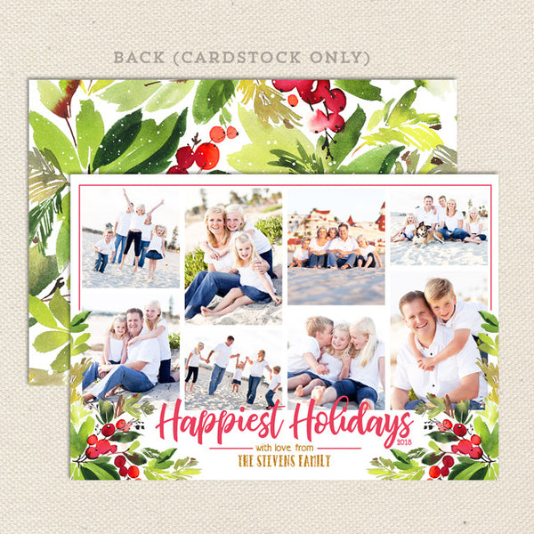 red berries printable christmas card