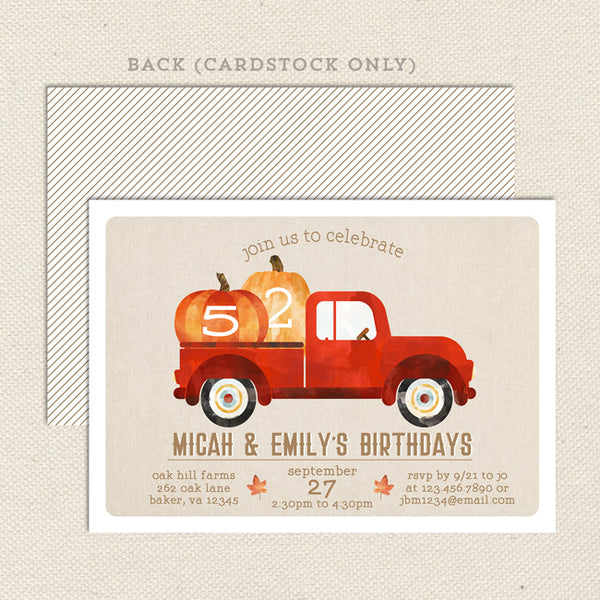rustic fall  joint birthday invitation