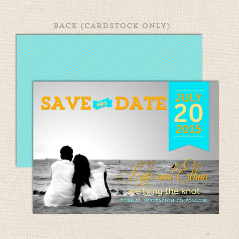 romantic ribbon save the date