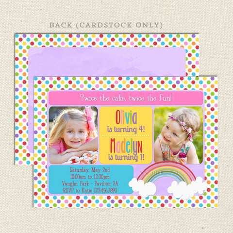 rainbow sibling birthday party invitation