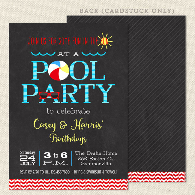 Swim Pool Party Joint Birthday Invitations 1