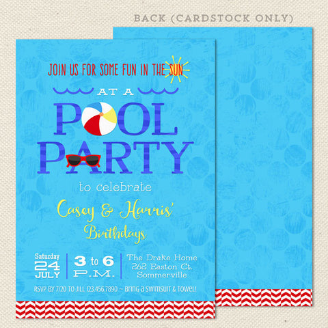 swim pool party joint birthday invitations 2