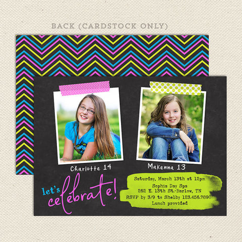 neon teen girl joint birthday party invitation