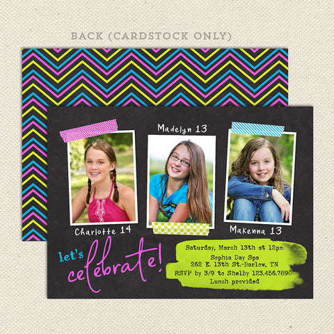 neon teen girl triple birthday party invitation