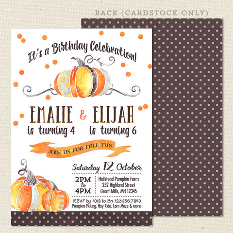 watercolor pumpkin sibling birthday invitation