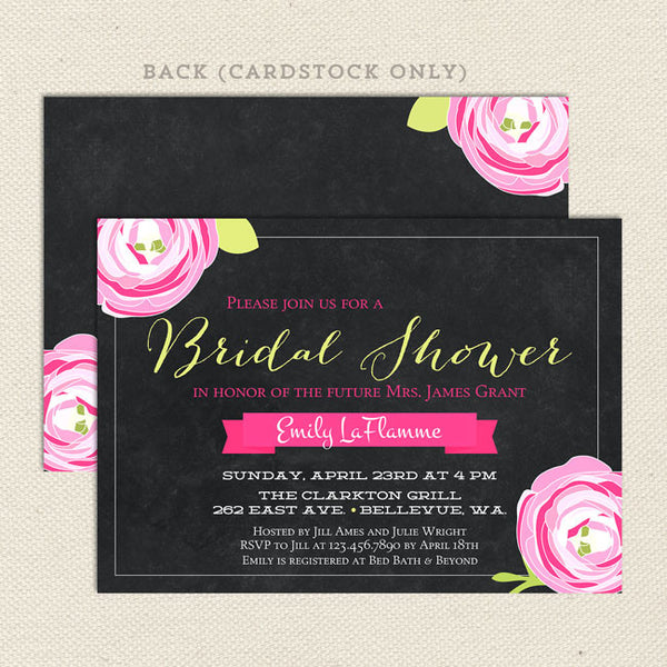 chalkboard bridal shower invitations pink