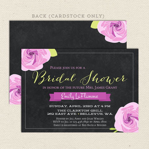 chalkboard bridal shower invitations purple