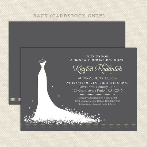 wedding dress bridal shower invitation yellow