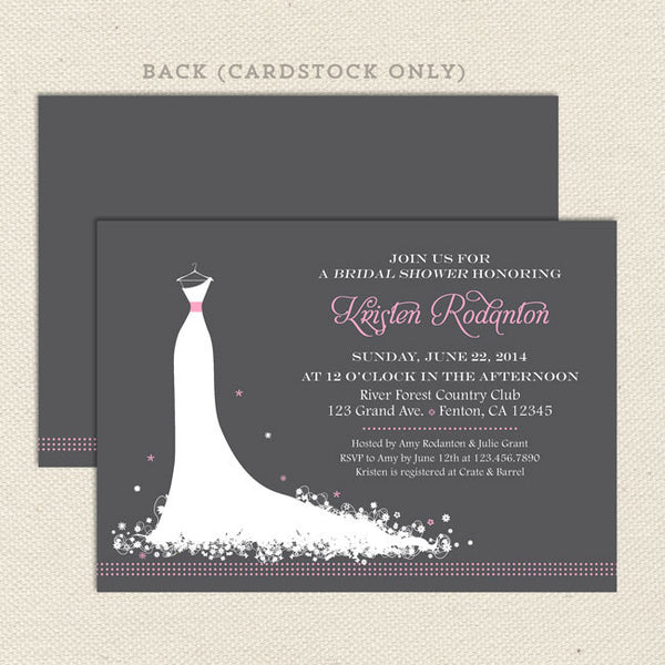 wedding dress bridal shower invitations