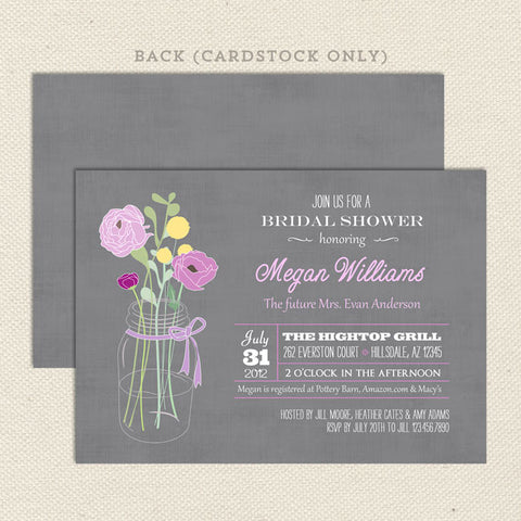 vintage bouquet bridal shower invitations