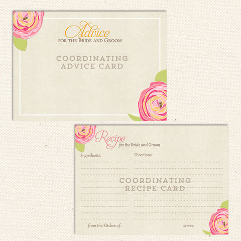 rustic floral recipe & advice cards