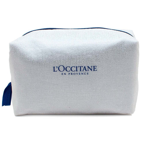 L'Occitane Square White Shimmer Fabric Cosmetic Bag