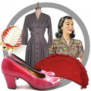 Red & Gray 1940s Vintage