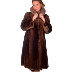 Vintage Sack Coat Canadian Beaver Mink Collar 1950s Swears & Wells Large