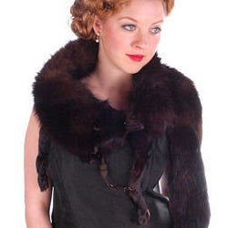 Vintage Dark Brown Full Fox Fur Wrap/Scarf 1930S Celluloid Clip