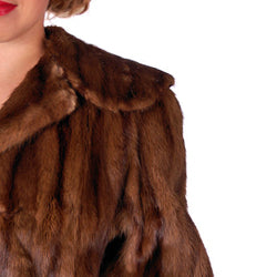 Vintage Swing Coat Muskrat Fur Extreme 1940s Big Shoulders Vogue Shop M