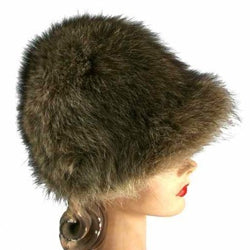 Vintage Ladies Raccoon Fur Bucket Hat 1970s 22 1/2