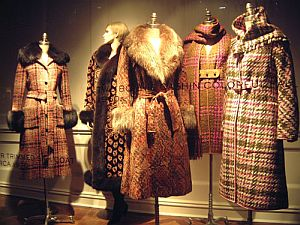 A great window display at Saks Fifth Avenue, New York City, featuring beautiful tweed coats by Bonnie Cashin, compliments of The Cats Pajamas.