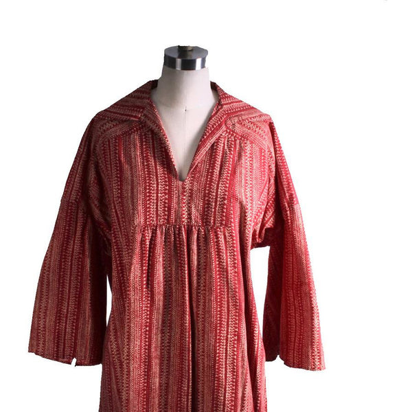Vintage Marimekko Dress 1970s  Womens S Shift Dress Red & Cream Mini Print