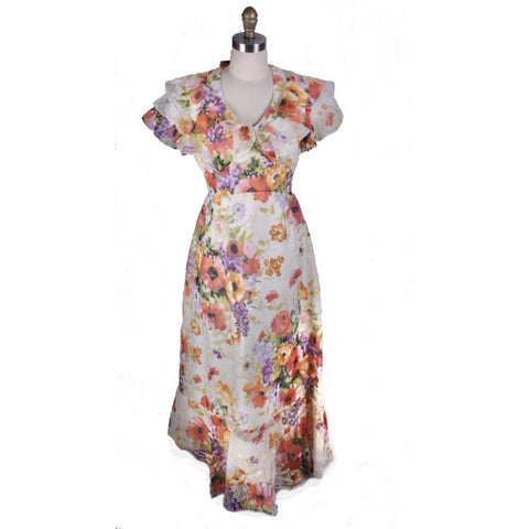 VTg FLoral 1970s Maxi Garden Dress Gown Poppies Sz S/M Romantic 1930s look