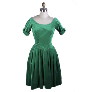Full Skirted Vintage Green Velvet Party Dress 1950S 34-26-Free  S Joy Time