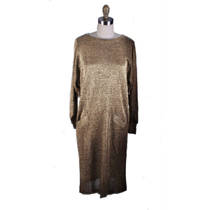 Gold Metallic Stretch Knit VTG Sack Dress 1980s Never Worn  M/L Ned Gould