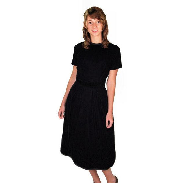 Vintage Suzy Perette Dress Black Silk Velvet Cocktail Dress 1950s 34-24-42 - The Best Vintage Clothing  - 1