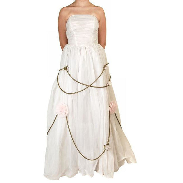 Vintage Winter White Chiffon Ballgown 1950S Details Wedding Gown 32-24-Free - The Best Vintage Clothing  - 2