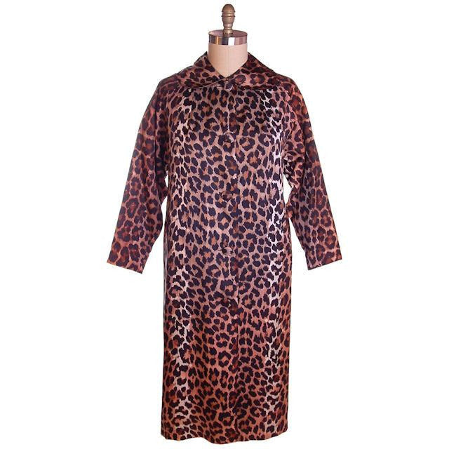 Vintage Leopard  Print Swing Coat 1950S Acetate One Size - The Best Vintage Clothing  - 1