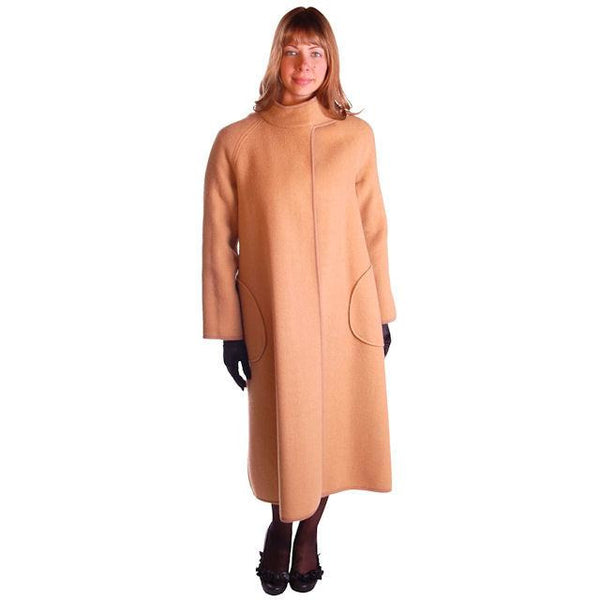 Vintage Reversible Cuddle Coat Wool Wrap Camel & Ivory Big Pockets 1970'S M-L - The Best Vintage Clothing  - 1