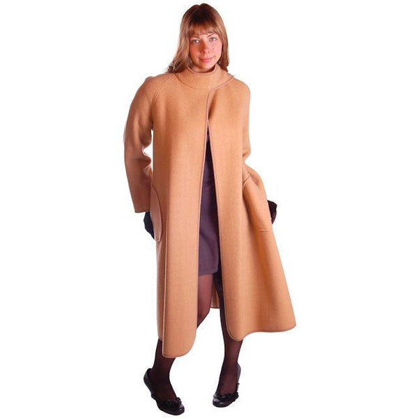 Vintage Reversible Cuddle Coat Wool Wrap Camel & Ivory Big Pockets 1970'S M-L - The Best Vintage Clothing  - 2