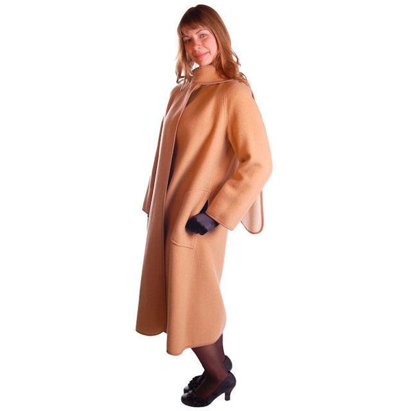 Vintage Reversible Cuddle Coat Wool Wrap Camel & Ivory Big Pockets 1970'S M-L - The Best Vintage Clothing  - 3