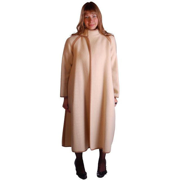 Vintage Reversible Cuddle Coat Wool Wrap Camel & Ivory Big Pockets 1970'S M-L - The Best Vintage Clothing  - 5