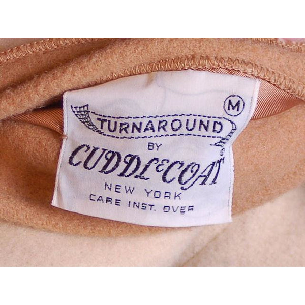 Vintage Reversible Cuddle Coat Wool Wrap Camel & Ivory Big Pockets 1970'S M-L - The Best Vintage Clothing  - 6