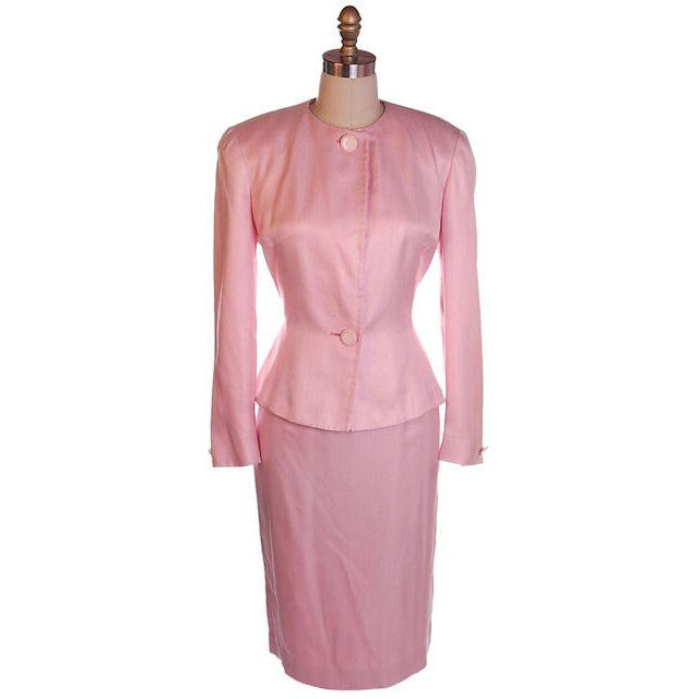Vintage 1980s Ladies Suit Pink Silk Herbert Grossman Sz 8 - The Best Vintage Clothing  - 1