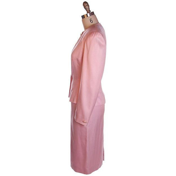 Vintage 1980s Ladies Suit Pink Silk Herbert Grossman Sz 8 - The Best Vintage Clothing  - 8