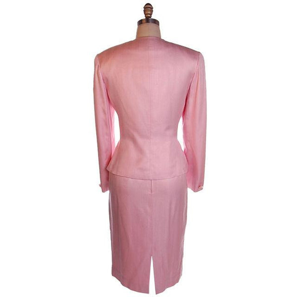 Vintage 1980s Ladies Suit Pink Silk Herbert Grossman Sz 8 - The Best Vintage Clothing  - 2