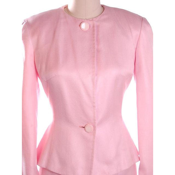Vintage 1980s Ladies Suit Pink Silk Herbert Grossman Sz 8 - The Best Vintage Clothing  - 5